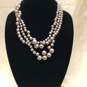 J Crew Taupe Pearl Hammock Necklace